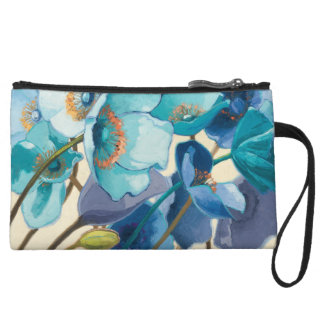 Flowers in Different Shades of Purple and Blue Wristlet Wallet