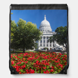 Flowers In Front Of State Capitol Building Drawstring Bag