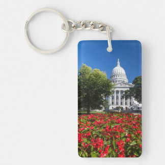 Flowers In Front Of State Capitol Building Keychain