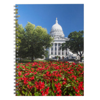 Flowers In Front Of State Capitol Building Spiral Notebooks
