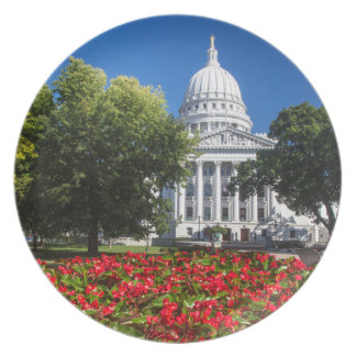 Flowers In Front Of State Capitol Building Dinner Plate