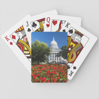 Flowers In Front Of State Capitol Building Playing Cards