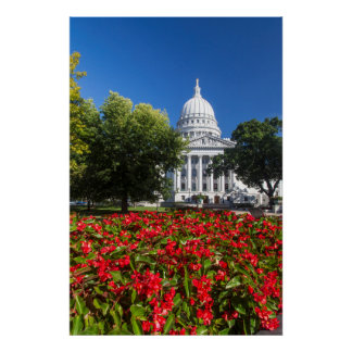 Flowers In Front Of State Capitol Building Poster
