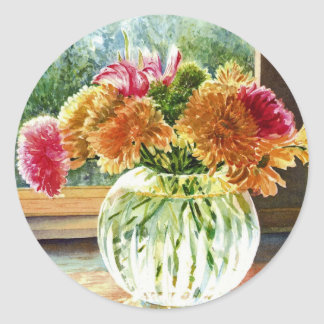 Flowers in Glass Vase Classic Round Sticker