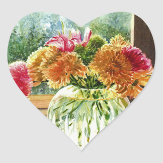 Flowers in Glass Vase Heart Sticker