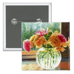 Flowers in Glass Vase Pins