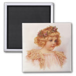 Flowers in Her Hair 2 Inch Square Magnet