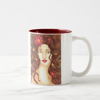 Flowers in Her Hair Mug 11oz (White/Maroon)