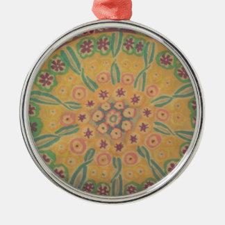 flowers in I circulate Metal Ornament