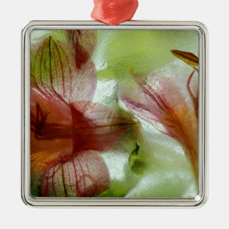 Flowers in ice metal ornament