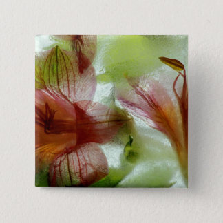 Flowers in ice pinback button