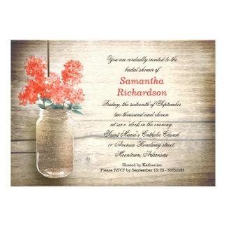 flowers in mason jar bridal shower invitations