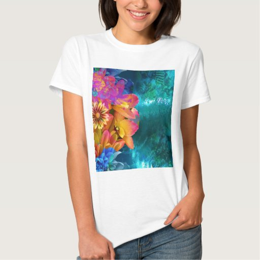 Flowers in ocean t-shirt