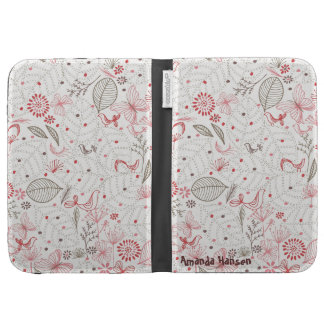 Flowers in pinks, reds, beige - {Kindle Case} Kindle Folio Cases