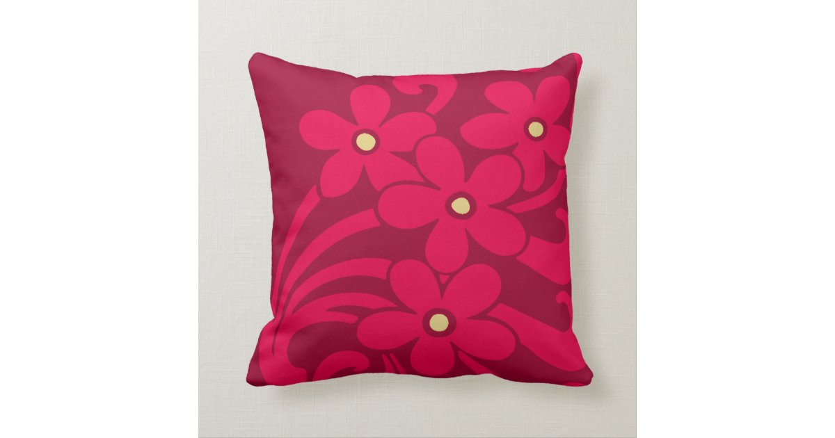 Throw Pillows Rules : Flowers in Raspberry Color American MoJo Pillows Zazzle