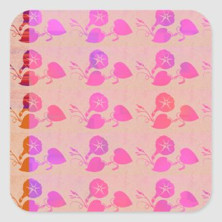 Flowers in Rows Square Stickers