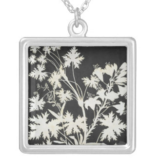 Flowers in Silhouette Silver Plated Necklace