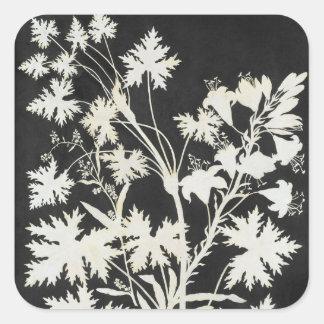 Flowers in Silhouette Square Sticker
