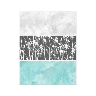 Flowers in teal and grays canvas