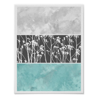 Flowers in teal and grays poster
