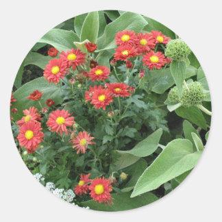 flowers in the garden classic round sticker