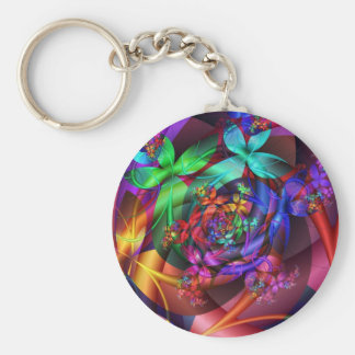 Flowers in the Sky Basic Round Button Keychain