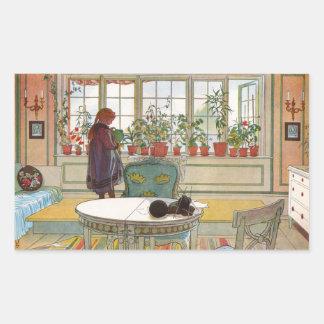 Flowers in the Window Box - Blomsterforstet Rectangular Sticker