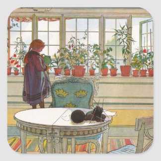 Flowers in the Window Box - Blomsterforstet Square Sticker