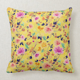 flowers in too sides of pillow yellow and green