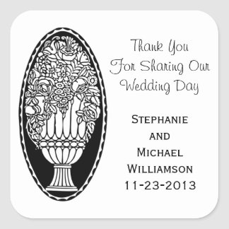 Flowers in Urn Black White Retro Wedding Thank You Square Sticker