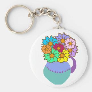 Flowers in vase key chain