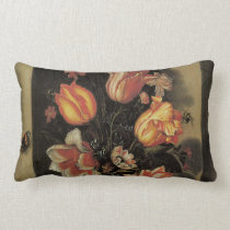 Flowers in Vase, Vintage Baroque Floral Still Life Lumbar Pillow
