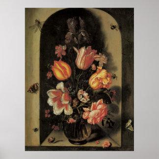 Flowers in Vase, Vintage Baroque Floral Still Life Poster