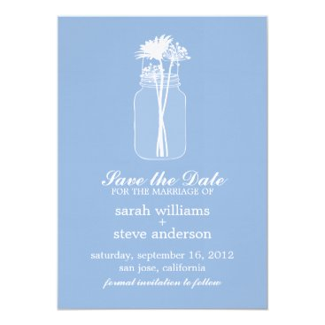 heartlocked Flowers in Vintage Mason Jar Wedding Save the Date Card