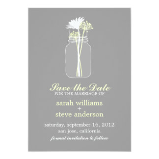 Flowers in Vintage Mason Jar Wedding Save the Date Personalized Invitation