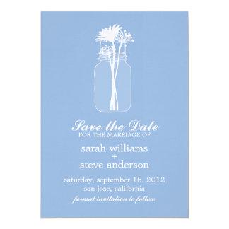 Flowers in Vintage Mason Jar Wedding Save the Date Invitation