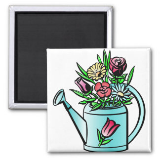 Flowers in Watering Can Magnets