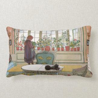 Flowers in Windowsill Girl Watering Geraniums Lumbar Pillow