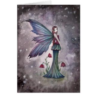 Flowers in Winter Fantasy Fairy Card