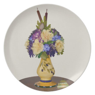 Flowers in Yellow Vase Plate
