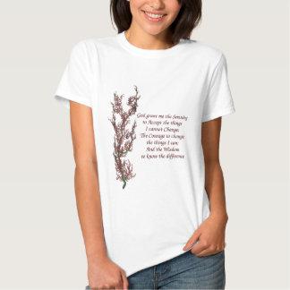 Flowers Inspirational Serenity Prayer Tee Shirts