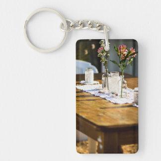flowers, jars  and doilies Single-Sided rectangular acrylic key ring