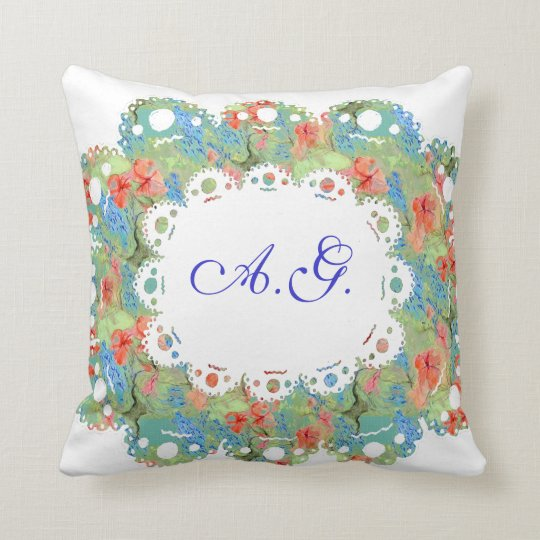Flowers, Lace and Monogramm Pillow