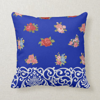 Flowers & Lace on Royal Blue, Tan & White Stripes Throw Pillow