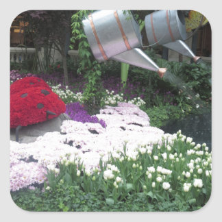 FLOWERS LadyBug Butterfly Garden Winner INTERIORS Square Stickers