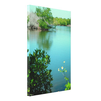 Flowers lake Stretched Canvas Print