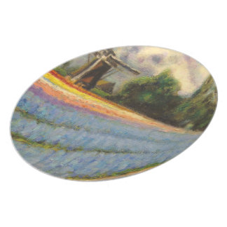 Flowers Landscape Triptych Painting 2 of 3 Dinner Plates