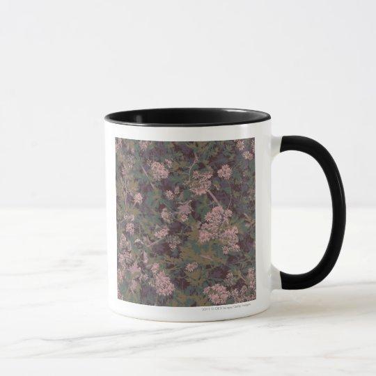 Flowers, leafs, and camouflage mug