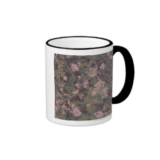 Flowers, leafs, and camouflage ringer coffee mug