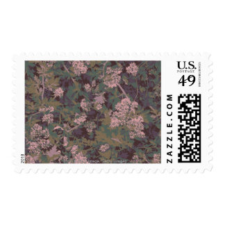 Flowers, leafs, and camouflage postage stamp